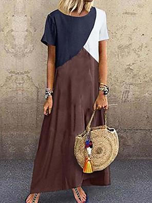 cheap Maxi Dresses-Women's Maxi T Shirt Dress - Short Sleeve Color Block Patchwork Spring & Summer Casual 2020 Purple Green Brown Gray S M L XL XXL XXXL XXXXL XXXXXL