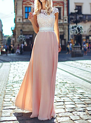 cheap Prom Dresses-A-Line Empire Pink Holiday Wedding Guest Dress Illusion Neck Short Sleeve Floor Length Chiffon Lace with Appliques 2020