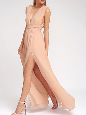 cheap Bridesmaid Dresses-A-Line Plunging Neck Floor Length Chiffon Bridesmaid Dress with Split Front / Pleats