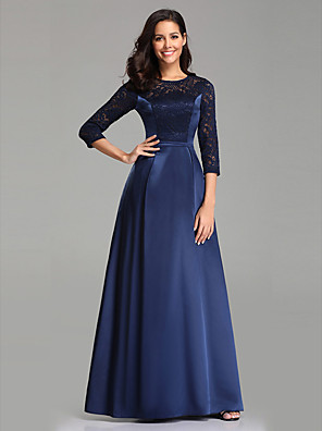 cheap Evening Dresses-A-Line Elegant Formal Evening Dress Jewel Neck 3/4 Length Sleeve Floor Length Lace Satin with 2020