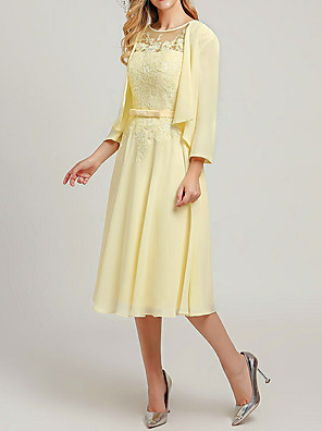 cheap Bridesmaid Dresses-Two Piece A-Line Mother of the Bride Dress Wrap Included Jewel Neck Tea Length Chiffon 3/4 Length Sleeve with Sash / Ribbon Appliques 2020