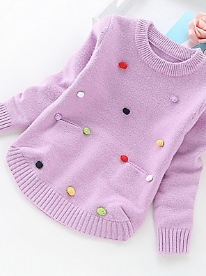 cheap Girls' Dresses-Kids Girls' Basic Solid Colored Long Sleeve Sweater & Cardigan Purple