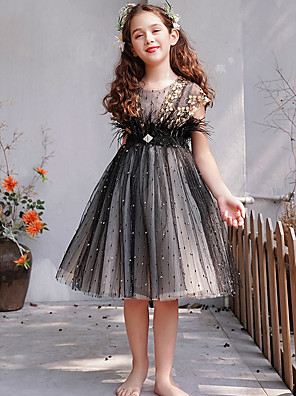 cheap Girls' Dresses-A-Line Knee Length Engagement Party / Pageant Flower Girl Dresses - Lace / Tulle Short Sleeve Jewel Neck with Feathers / Fur / Embroidery / Appliques