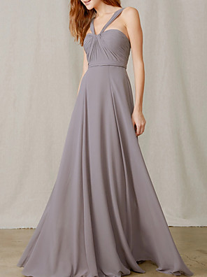 cheap Bridesmaid Dresses-A-Line Halter Neck Floor Length Chiffon Bridesmaid Dress with Pleats