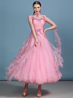 cheap Evening Dresses-Ballroom Dance Dress Appliques Crystals / Rhinestones Women's Performance Short Sleeve High Spandex Organza Milk Fiber