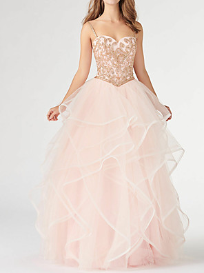 cheap Evening Dresses-A-Line Open Back Formal Evening Dress Spaghetti Strap Sleeveless Floor Length Tulle with Beading Cascading Ruffles 2020