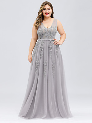 cheap Evening Dresses-A-Line Plus Size Prom Dress V Neck Sleeveless Floor Length Tulle with Beading Appliques 2020