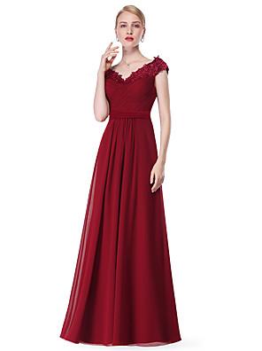 cheap Evening Dresses-A-Line Empire Blue Wedding Guest Formal Evening Dress V Neck Sleeveless Floor Length Chiffon with Appliques 2020