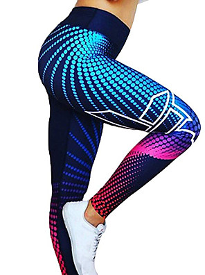 cheap Prom Dresses-Women's High Waist Yoga Pants Winter 3D Digital Print Dark Grey Black / Silver Red / White Golden White / Black Spandex Running Fitness Gym Workout Tights Leggings Sport Activewear Quick Dry Butt