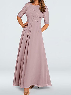cheap Evening Dresses-A-Line Elegant Pink Wedding Guest Formal Evening Dress Jewel Neck Half Sleeve Floor Length Chiffon Lace with Pleats Ruched 2020