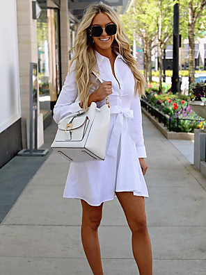 cheap Women's Dresses-Women's Mini Sheath Dress - Long Sleeve Solid Colored Shirt Collar Basic White S M L XL