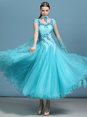 cheap Ballroom Dancewear-Ballroom Dance Dress Appliques Crystals / Rhinestones Women's Performance Short Sleeve High Spandex Organza Milk Fiber