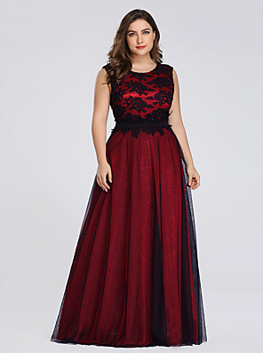 cheap Bridesmaid Dresses-A-Line Plus Size Formal Evening Dress Jewel Neck Sleeveless Floor Length Lace Tulle with Lace Insert 2020