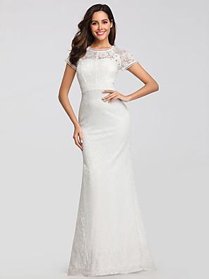 cheap Evening Dresses-Mermaid / Trumpet Elegant Formal Evening Dress Jewel Neck Short Sleeve Floor Length Lace with 2020