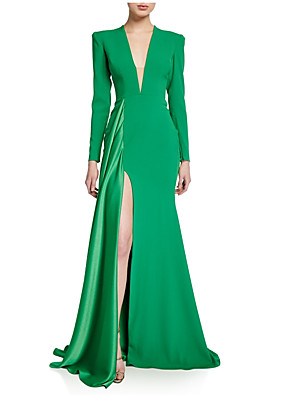cheap Prom Dresses-Mermaid / Trumpet Elegant Green Wedding Guest Formal Evening Dress V Neck Long Sleeve Sweep / Brush Train Polyester with Draping Split Front 2020