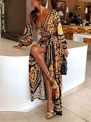 cheap Prom Dresses-Women's Wrap Dress Maxi long Dress - Long Sleeve Print Belted Spring & Summer Deep V Boho Holiday Going out Beach 2020 Yellow S M L XL XXL XXXL