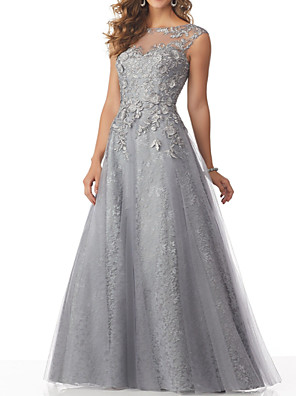 cheap Evening Dresses-A-Line Beautiful Back Formal Evening Dress Boat Neck Sleeveless Floor Length Lace Tulle with Beading Appliques 2020