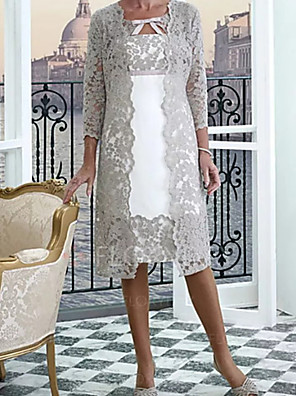 cheap Wedding Wraps-Two Piece A-Line Mother of the Bride Dress Wrap Included Jewel Neck Knee Length Lace Half Sleeve with Appliques 2020