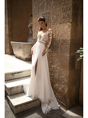 cheap Wedding Dresses-A-Line Wedding Dresses V Neck Sweep / Brush Train Chiffon Lace Long Sleeve Romantic Backless Illusion Sleeve with Beading Appliques Split Front 2020