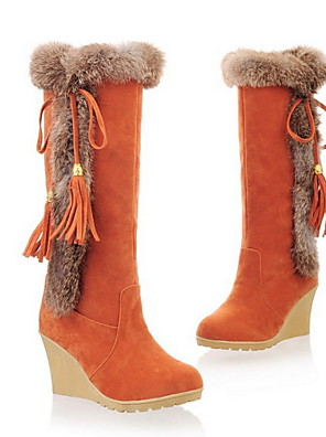 cheap Print Dresses-Women's Boots Wedge Heel Round Toe Daily Solid Colored Suede Mid-Calf Boots Black / Orange / Brown