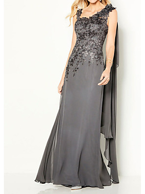 cheap Evening Dresses-Sheath / Column Elegant Formal Evening Dress Y Neck Sleeveless Floor Length Chiffon Lace with Appliques 2020