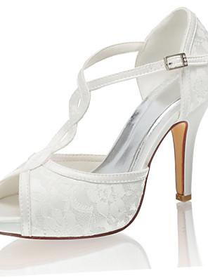 cheap Romantic Lace Dresses-Women's Wedding Shoes Mesh Stiletto Heel Peep Toe Buckle Satin Spring &  Fall / Summer Ivory