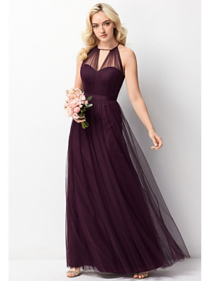 cheap Bridesmaid Dresses-A-Line Halter Neck Floor Length Chiffon / Tulle Bridesmaid Dress with