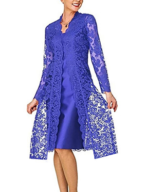 cheap Cocktail Dresses-Women's Plus Size Lace Dress - Long Sleeve Solid Colored Lace Formal Style Spring Fall V Neck For Mother / Mom Going out 2020 Black Blue Red Gray S M L XL XXL XXXL XXXXL XXXXXL
