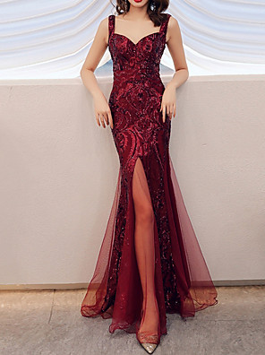 cheap Evening Dresses-Mermaid / Trumpet Sparkle Red Party Wear Prom Dress Spaghetti Strap Sleeveless Floor Length Polyester with Sequin Split Front 2020