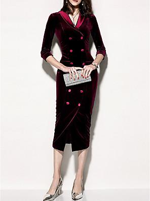 cheap Print Dresses-Women's Bodycon Dress - 3/4 Length Sleeve Solid Colored V Neck Elegant Slim Purple Red Green S M L XL XXL XXXL XXXXL XXXXXL XXXXXXL