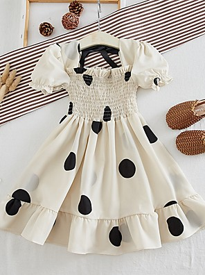 cheap Girls' Dresses-Kids Girls' Polka Dot Dress Beige