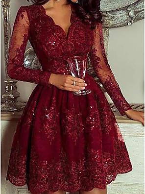 cheap Women's Dresses-Women's A Line Dress - Long Sleeve Floral Solid Color Sequins Deep V Elegant Cocktail Party Going out Birthday Wine M L XL XXL XXXL