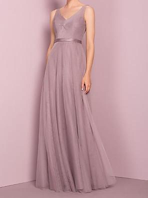 cheap Bridesmaid Dresses-A-Line V Neck Floor Length Tulle Bridesmaid Dress with Sash / Ribbon / Pleats
