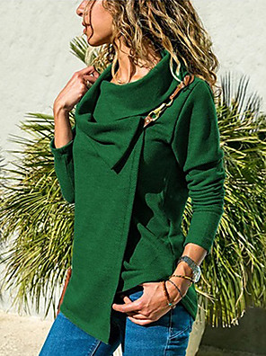 cheap Women's Blouses-Women's Plus Size Solid Colored T-shirt Daily Shirt Collar Wine / Green