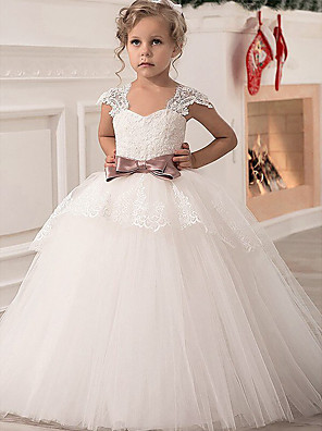 cheap Junior Bridesmaid Dresses-Princess Point Floor Length Lace / Satin / Tulle Junior Bridesmaid Dress with Lace / Sash / Ribbon