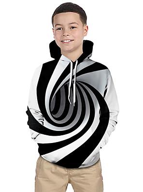 cheap Girls' Dresses-Kids Toddler Boys' Active Basic Black & White Fantastic Beasts Striped Geometric 3D Print Long Sleeve Hoodie & Sweatshirt White