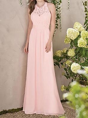 cheap Evening Dresses-A-Line Jewel Neck Floor Length Chiffon / Lace Bridesmaid Dress with Pleats / Appliques