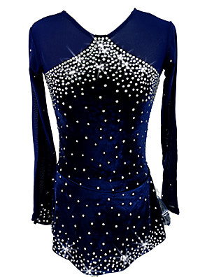 cheap Ice Skating Dresses , Pants & Jackets-Figure Skating Dress Women's Girls' Ice Skating Dress Dark Blue Stretchy Competition Skating Wear Handmade Classic Long Sleeve Ice Skating Figure Skating