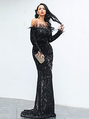 cheap Cocktail Dresses-Mermaid / Trumpet Sparkle Black Engagement Formal Evening Dress Off Shoulder Long Sleeve Sweep / Brush Train Sequined with Sequin 2020