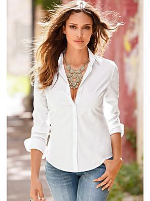 お買い得  レディーストップス-女性用 シャツ ソリッド 長袖 トップの シャツカラー ホワイト ブラック ピンク