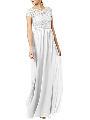 cheap Evening Dresses-A-Line Jewel Neck Floor Length Chiffon Bridesmaid Dress with Lace / Sash / Ribbon