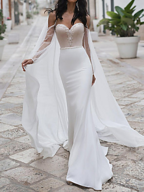 cheap Wedding Dresses-Mermaid / Trumpet Wedding Dresses Sweetheart Neckline Sweep / Brush Train Polyester Long Sleeve Romantic See-Through Illusion Detail Backless with Crystals 2020