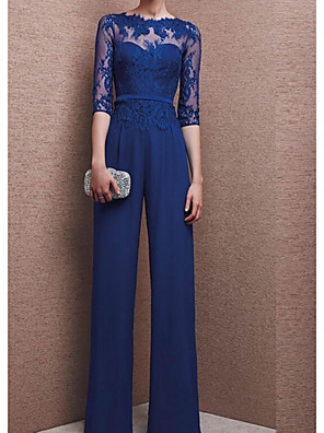 cheap Evening Dresses-Pantsuit / Jumpsuit Mother of the Bride Dress Elegant See Through Jewel Neck Floor Length Chiffon 3/4 Length Sleeve with Appliques 2020
