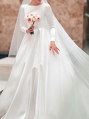 cheap Wedding Dresses-A-Line Wedding Dresses Jewel Neck Court Train Satin Long Sleeve Simple Elegant with 2020