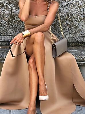 cheap Women's Dresses-Women's Maxi A Line Dress - Sleeveless Solid Colored Strapless Camel S M L XL
