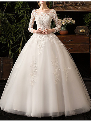 cheap Prom Dresses-Ball Gown Wedding Dresses Bateau Neck Floor Length Lace Tulle Long Sleeve Country Backless Illusion Sleeve with Appliques 2020 / Yes