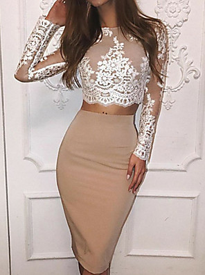 cheap Cocktail Dresses-Sheath / Column Color Block Holiday Cocktail Party Dress Jewel Neck Long Sleeve Knee Length Lace Polyester with Lace Insert 2020