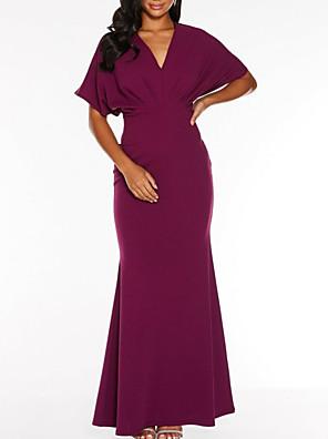 cheap Shirts-Sheath / Column V Neck Floor Length Polyester Bridesmaid Dress with Ruching