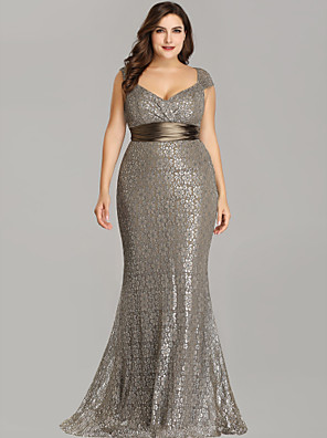 cheap Prom Dresses-Mermaid / Trumpet Elegant Formal Evening Dress Plunging Neck Short Sleeve Floor Length Lace with Sash / Ribbon 2020