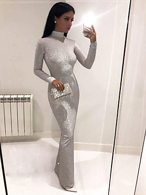 cheap Maxi Dresses-Women's Maxi Sheath Dress - Long Sleeve Solid Colored Turtleneck Elegant Cocktail Party Prom Birthday Wine Black Silver S M L XL